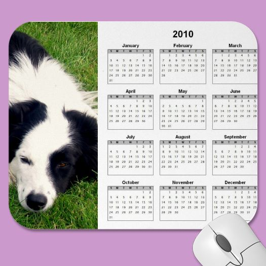 2010 border collie calendar mousepad